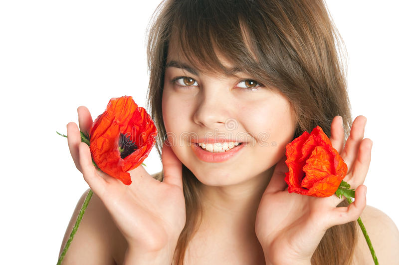 The Girl With Poppies Royalty Free Stock Photography