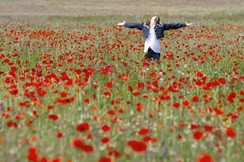 Girl With Poppies Enjoy Stock Images
