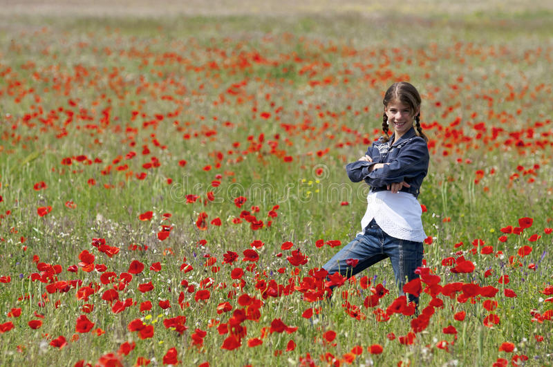 Girl With Poppies Posing Side View Royalty Free Stock Photo