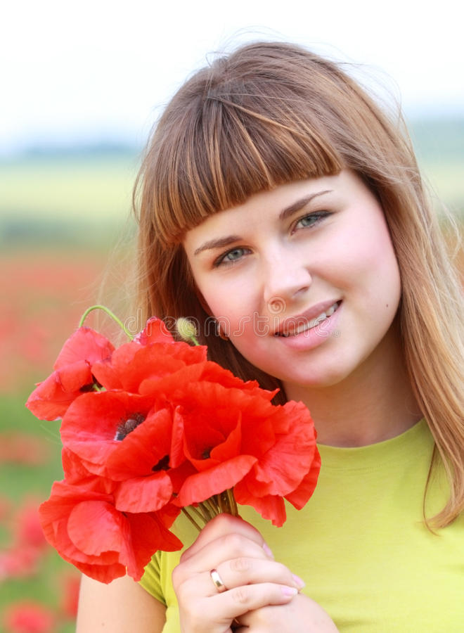 Download Girl in the poppy field stock image. Image of grass, green - 10732803