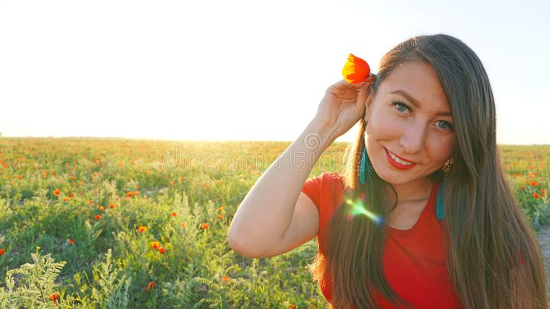 Girl on the poppy fields. Red flowers with green stems, huge fields. Bright sun rays. Closer to sunset. Photo shoot model. Large flower buds. Blue sky and stock photo