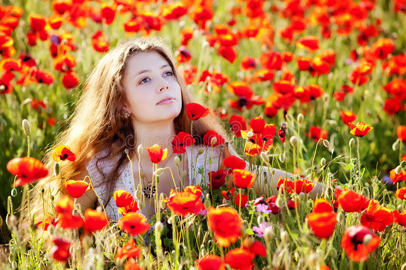 Girl on a poppy meadow royalty free stock photo