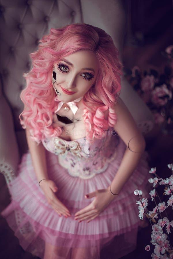 Girl porcelain doll royalty free stock photo