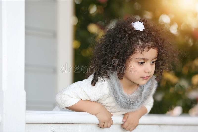 Girl and the porch royalty free stock images