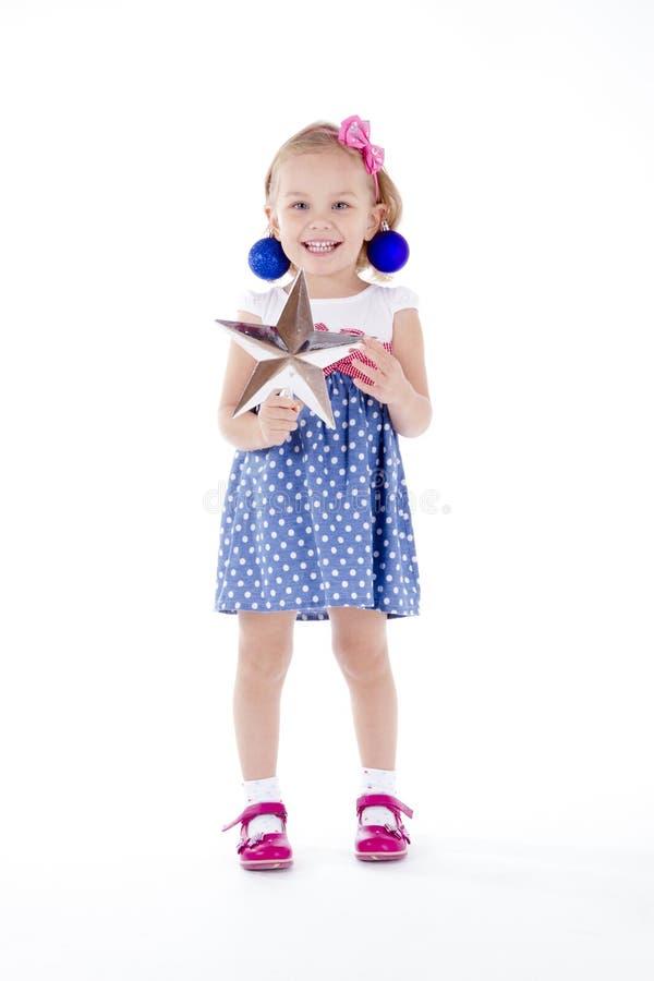 Free Girl Portrait Blue Christmas Balls As Earrings. Royalty Free Stock Photo - 79301985