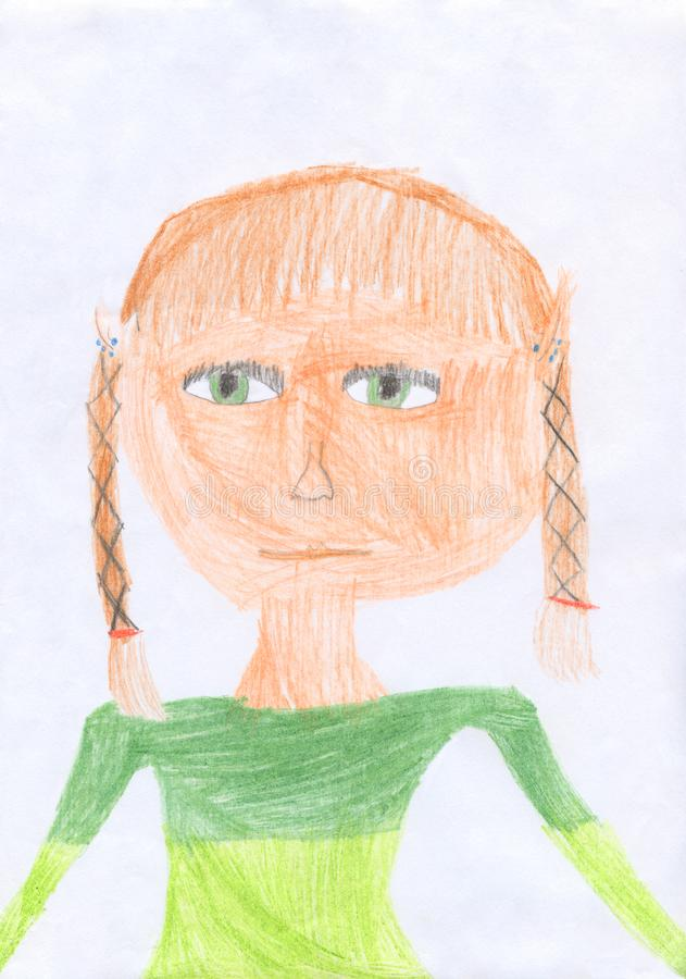 Kid colored pencil drawing of girl vector illustration