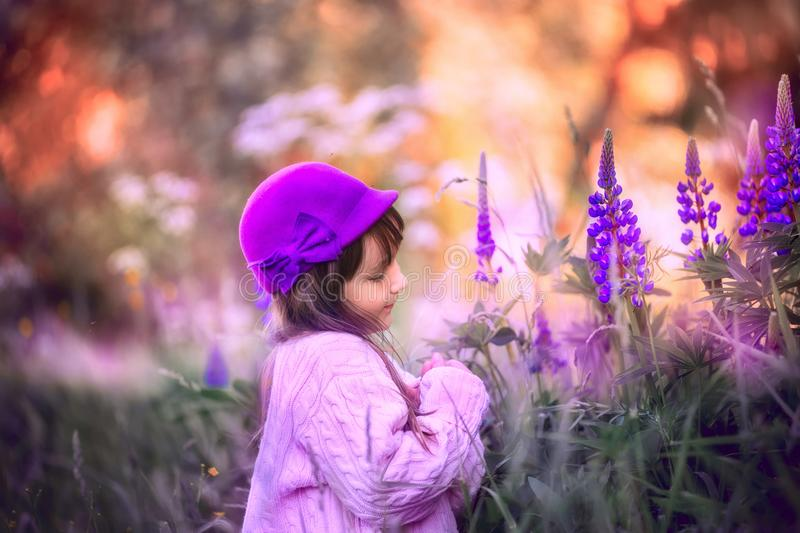 Girl portrait with lupine flowers. Outdoor smiling girl portrait with lupine flowers stock photography