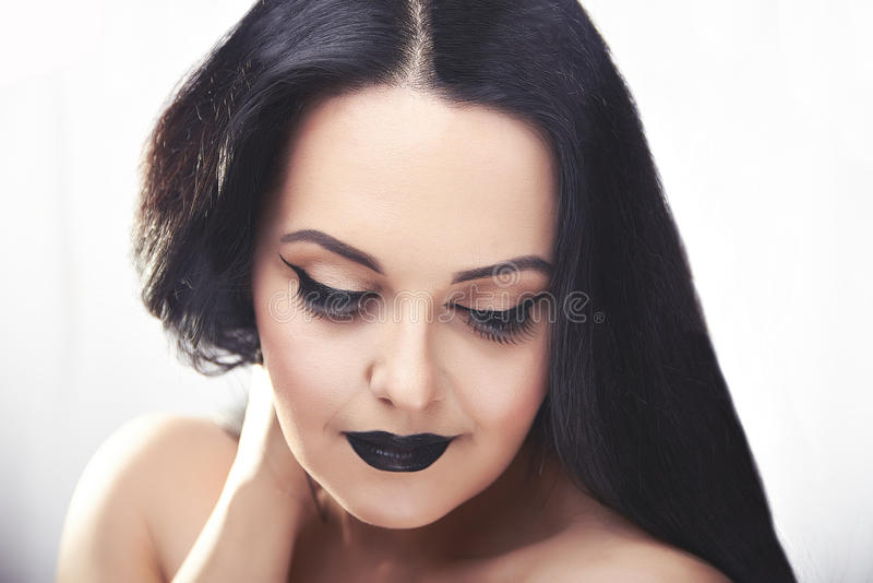Girl portraite with dark make up in the morning royalty free stock photography