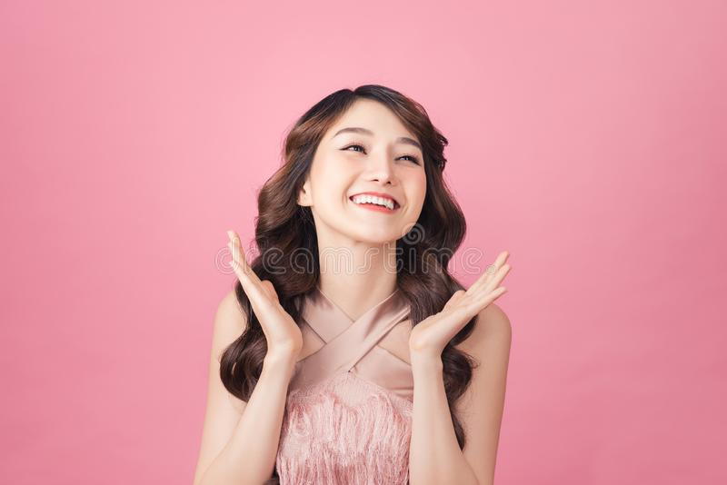 Girl pose in feeling very happy amazed excited and surprised stock image