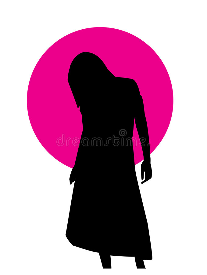 Girl Posing. A posing girl in a simple outline form. Her silhouette vector illustration