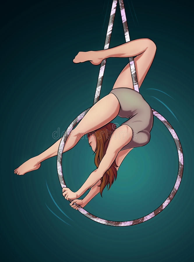 Girl posing with aerial hoop royalty free stock photo