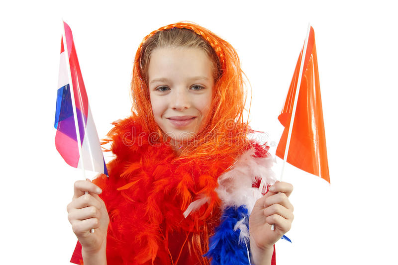 Girl is posing in orange outfit. For soccer game or queensday over white background stock image