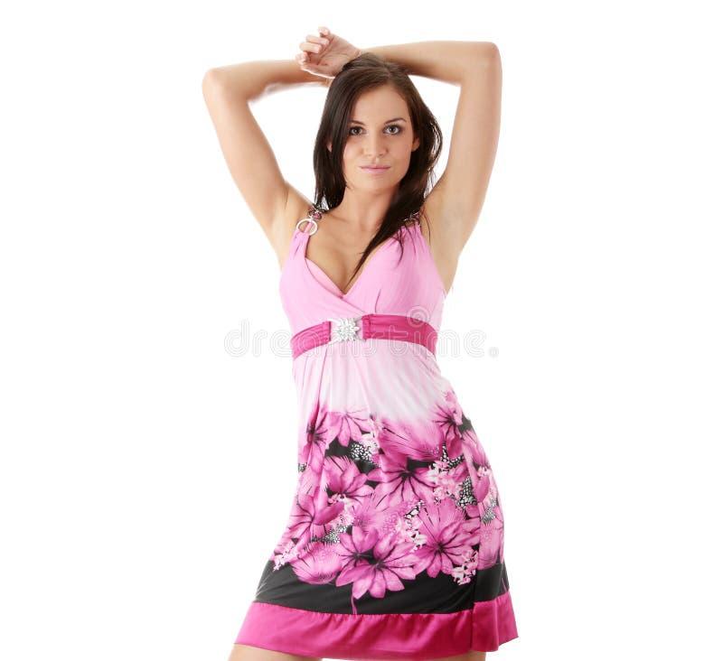 Girl Posing In Ping Dress Royalty Free Stock Images