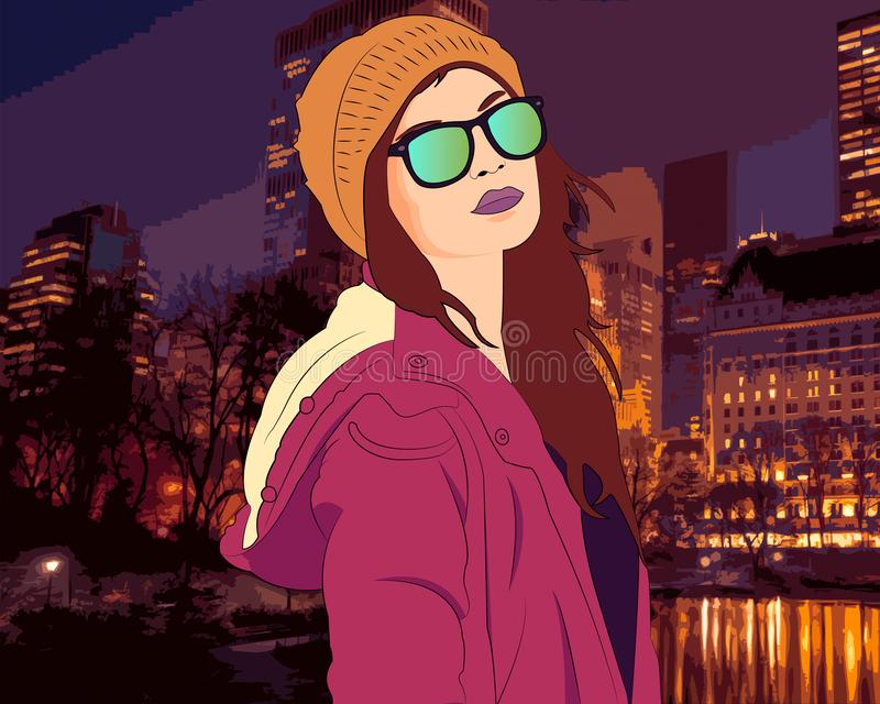 Posing in the city. Girl posing with style in the park of her city at sunset stock illustration
