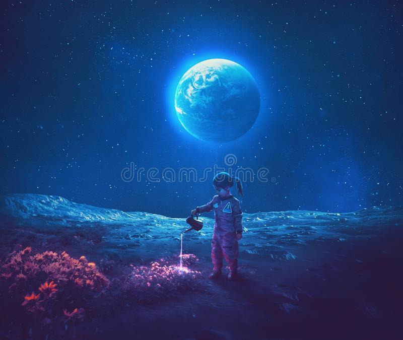 Girl pouring water on moon flowers. A little girl dressed as an astronaut watering beautiful flowers on the moon stock images
