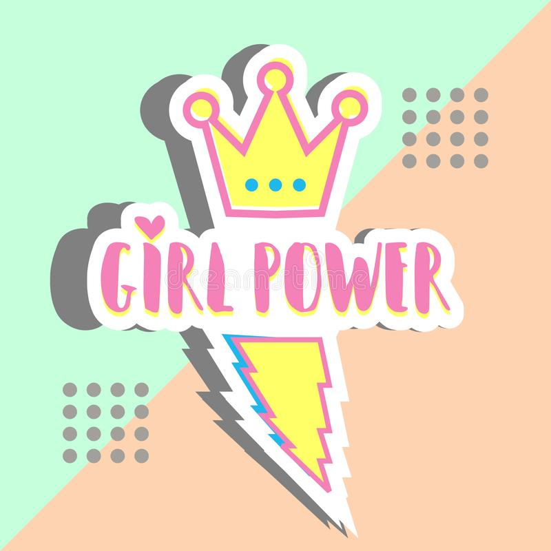 Girl power banner design memphis trendy punchy pastel colors. Multicolor cute color hipster style. stock illustration