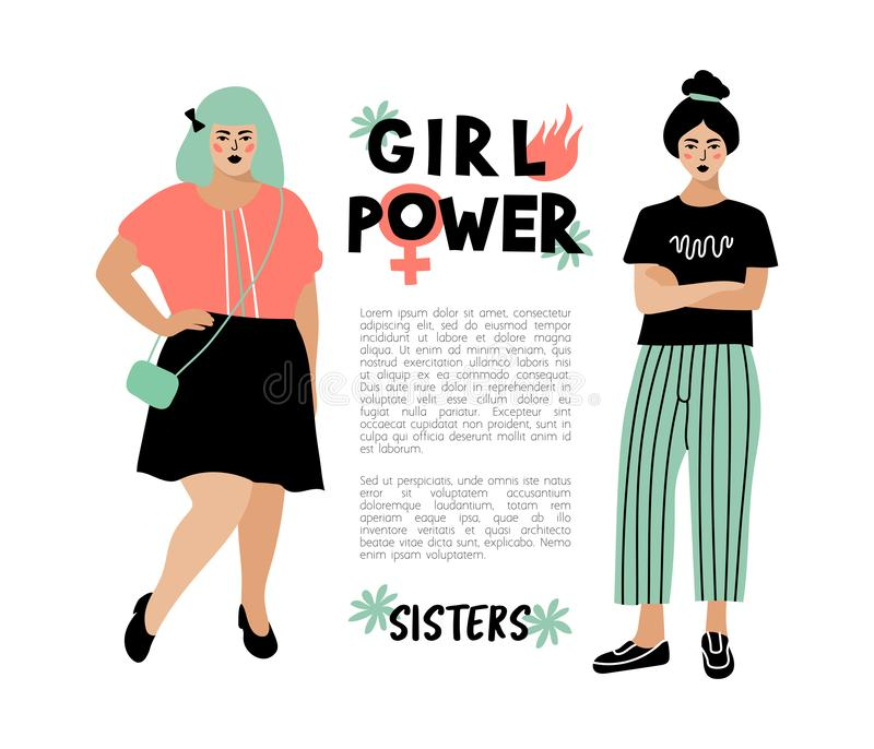 Girl Power card, Feminist poster. Stylish young women, place for text. Hipster characters, Vector flat design vector illustration