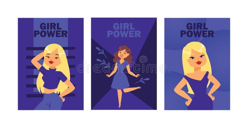 Girl power cards vector illustration. Attractive girls posing as models. Beautiful blonde, brunette women in dress vector illustration