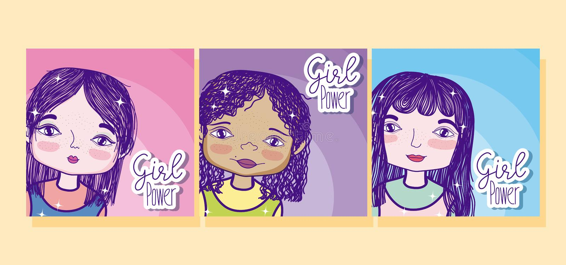 Girl power cartoons stock illustration