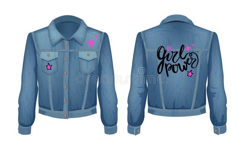 Girl Power Denim Jacket Patch Vector Illustration stock illustration