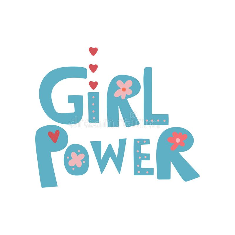Girl Power, Design Element Can Be Used For Greeting Card, Badge, Label, Invitation, Banner Vector Illustration stock illustration
