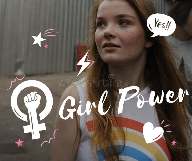 Girl Power Equality Feminist Women`s Right Concept. Girl Power Equality Feminist Women`s Right stock photography
