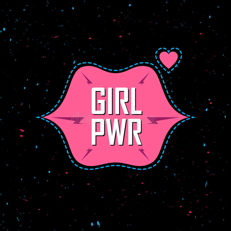 Girl Power - feminist slogan, fashionable fun girly patche, sticker or pin. Fashion vector illustration. Glam T-shirt apparels pr stock illustration