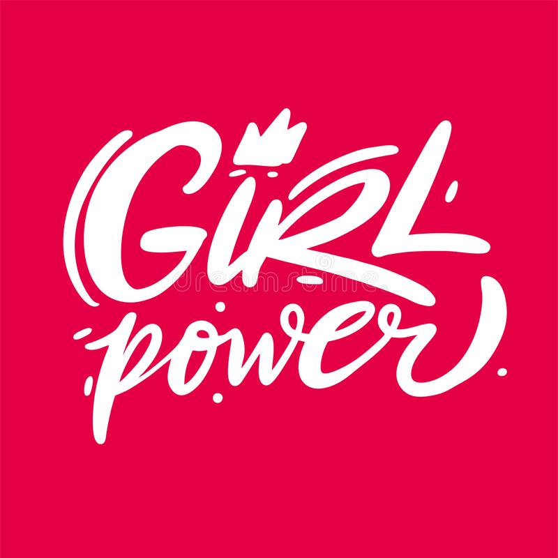 Girl Power hand drawn vector lettering. Feminism slogan. Isolated on pink background vector illustration