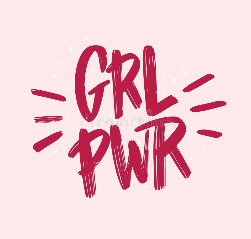 Girl power inscription handwritten with bright pink vivid font. GRL PWR hand lettering. Feminist slogan, phrase or quote stock illustration