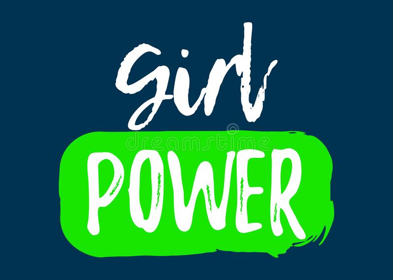 Girl Power label. Font with Brush. Equal Rights Badges. Vector illustration icon royalty free illustration