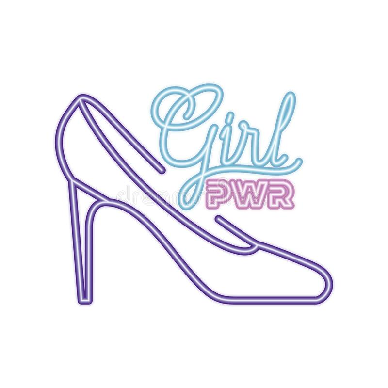 Girl power label with heel isolated icon royalty free illustration
