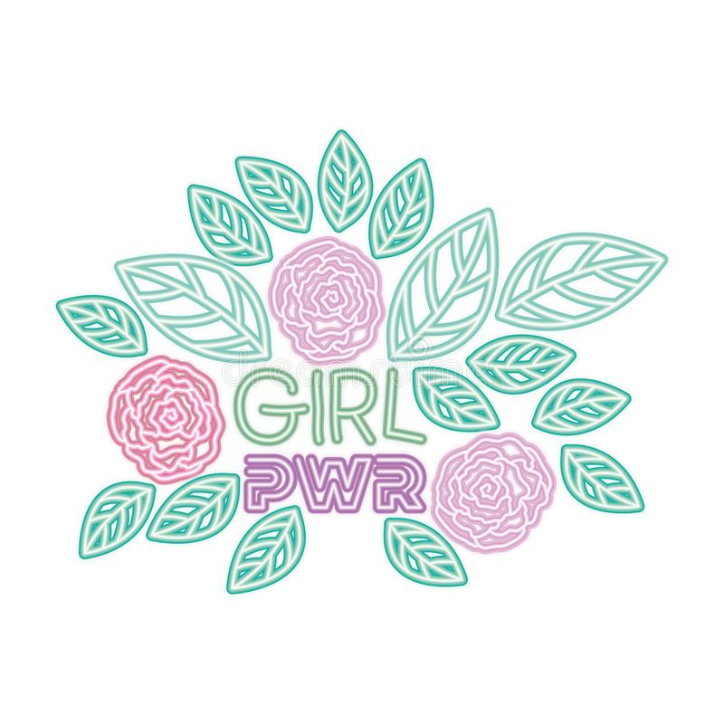 Girl power label with roses isolated icon vector illustration