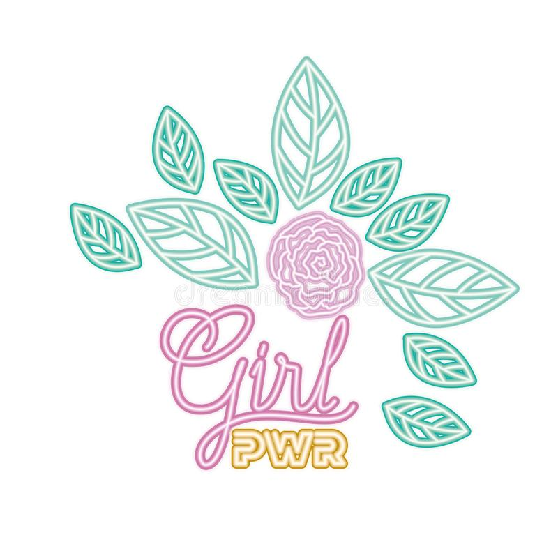 Girl power label with roses isolated icon stock illustration