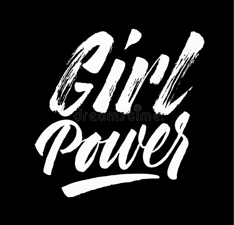 Girl Power lettering. Hand drawn brush pen calligraphy. Inspirat royalty free illustration