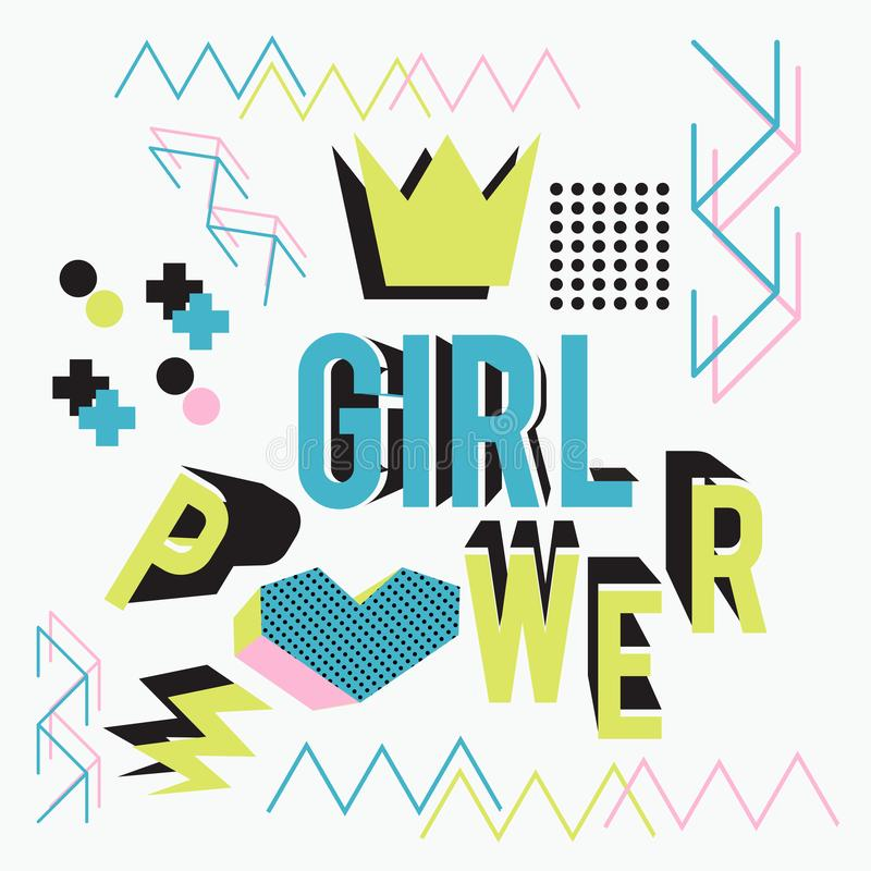 Girl power lettering with memphis geometric style fun art design vector illustration. Motivational text of Girl power lettering with memphis geometric style fun vector illustration