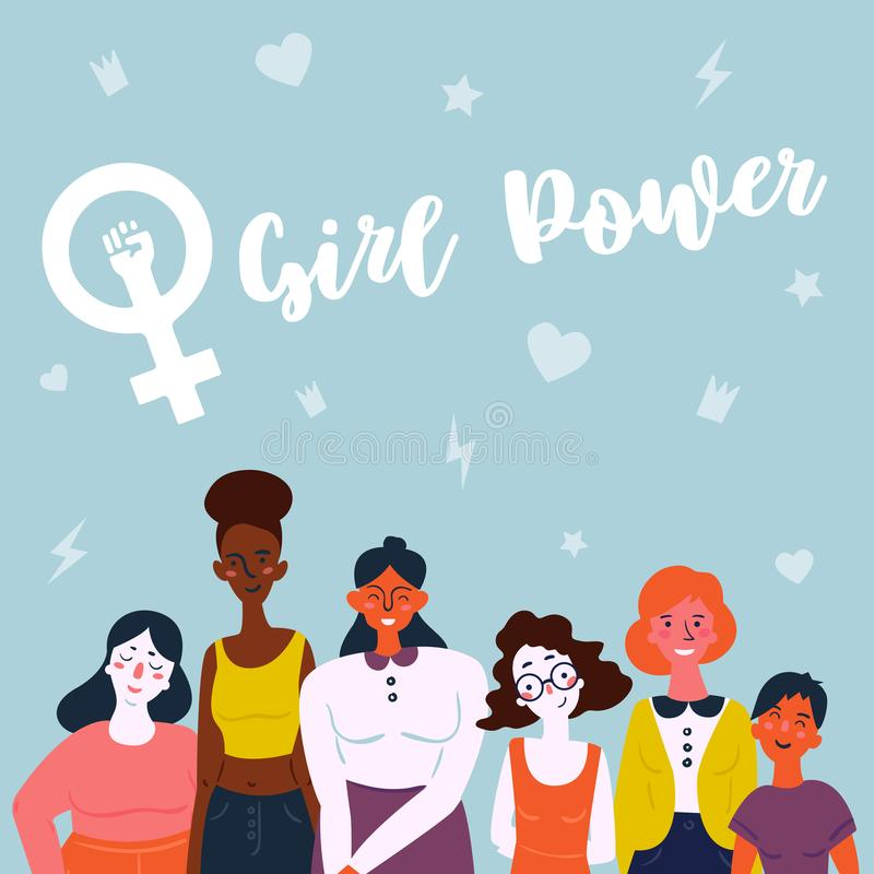 Illustration of a diverse group of women. Feminine vector illustration