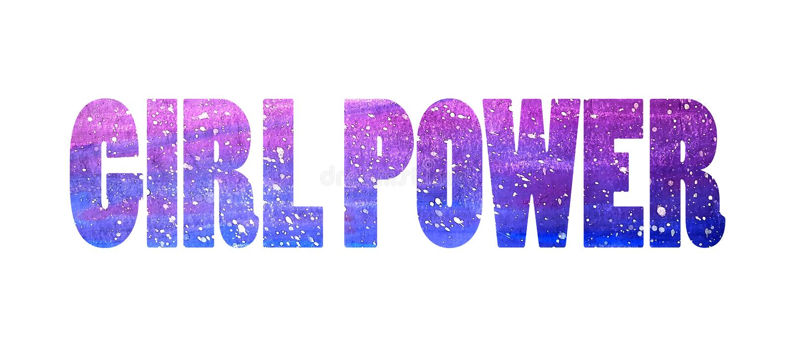 Girl power. Letters from gradient starry sky in watercolor style on a white background. Isolated. Girl power. Letters from gradient purple starry sky in stock illustration