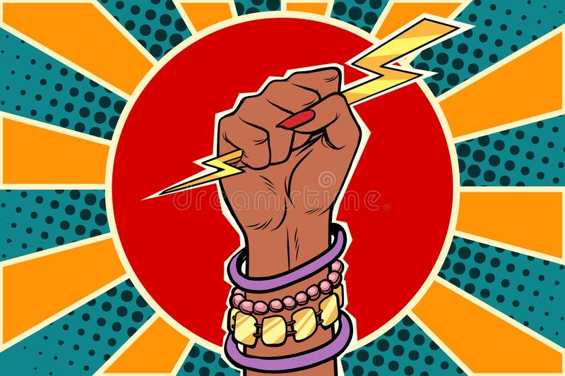 Girl power lightning in the fist. African woman royalty free illustration