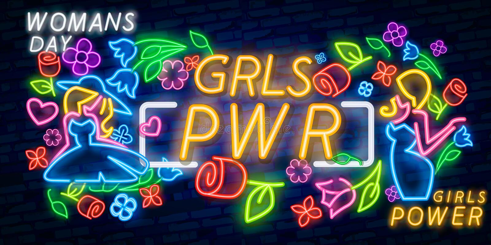 Girl Power neon sign vector. Grl Pwr Design template neon sign, light banner, neon signboard, nightly bright advertising, light royalty free illustration