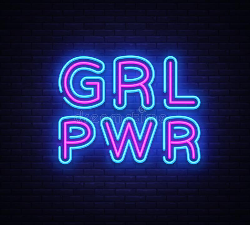 Girl Power neon sign vector. Grl Pwr Design template neon sign, light banner, neon signboard, nightly bright advertising royalty free illustration