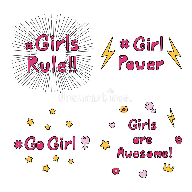 Girl power quotes collection vector illustration