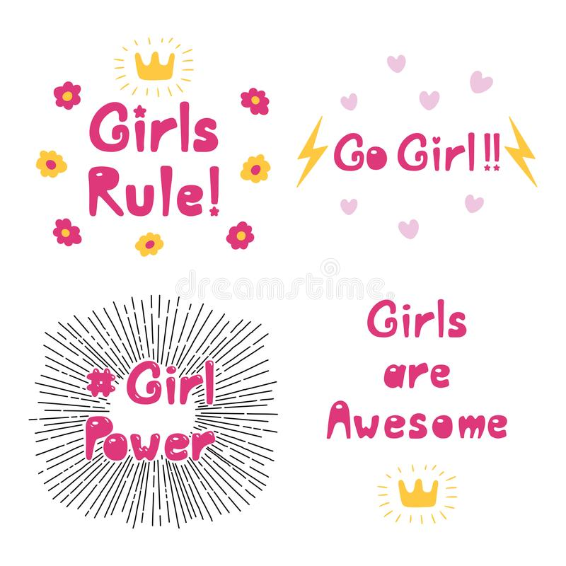 Girl power quotes collection royalty free illustration