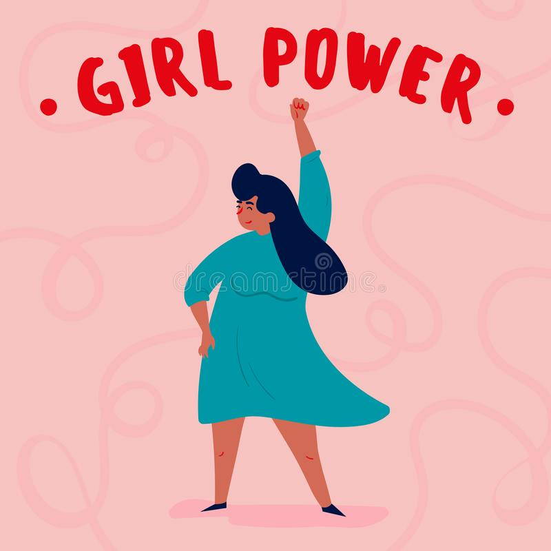 Girl power. Single strong empowered woman royalty free illustration