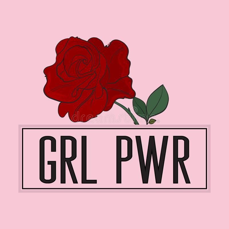 Girl power slogan with rose print on pink background. stock illustration