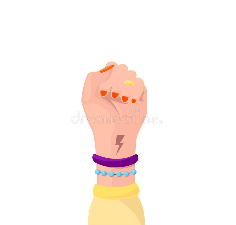 Girl Power symbol of feminist movement isolated. Woman hand with her fist raised up. Female hand with lightning and trappings. vector illustration