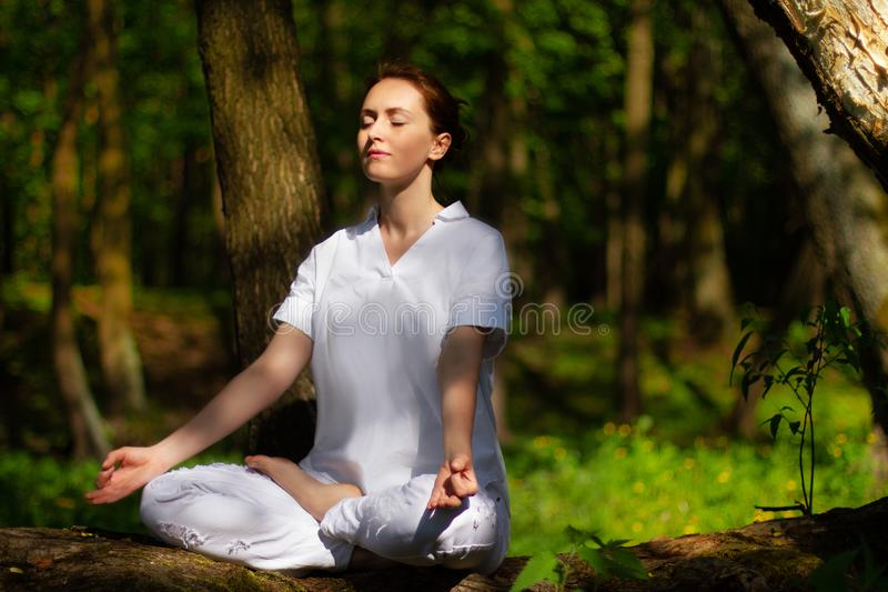 Beautiful girl practices yoga in peaceful nature atmosphere royalty free stock photography