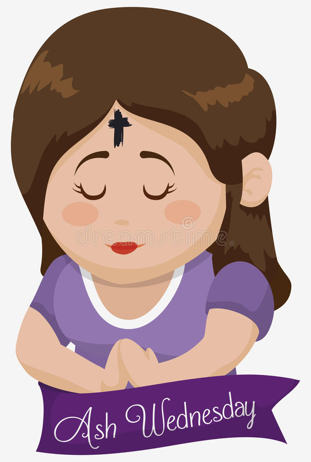 Girl Praying with Cross in her Forehead on Ash Wednesday, Vector Illustration stock photography