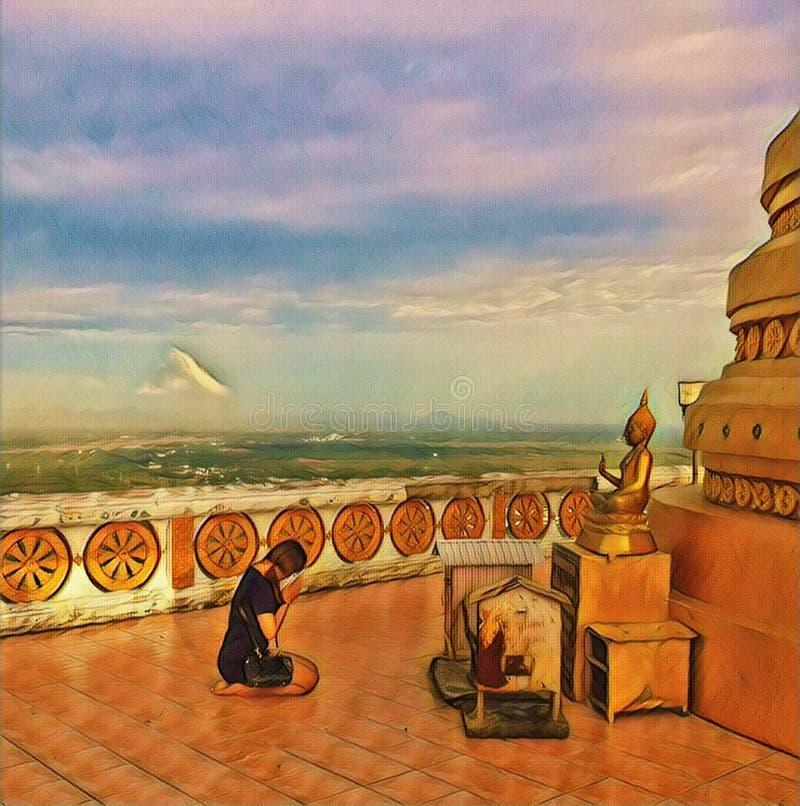 The girl prays to Buddha in Thailand. Buddhist temple scene digital illustration. royalty free illustration