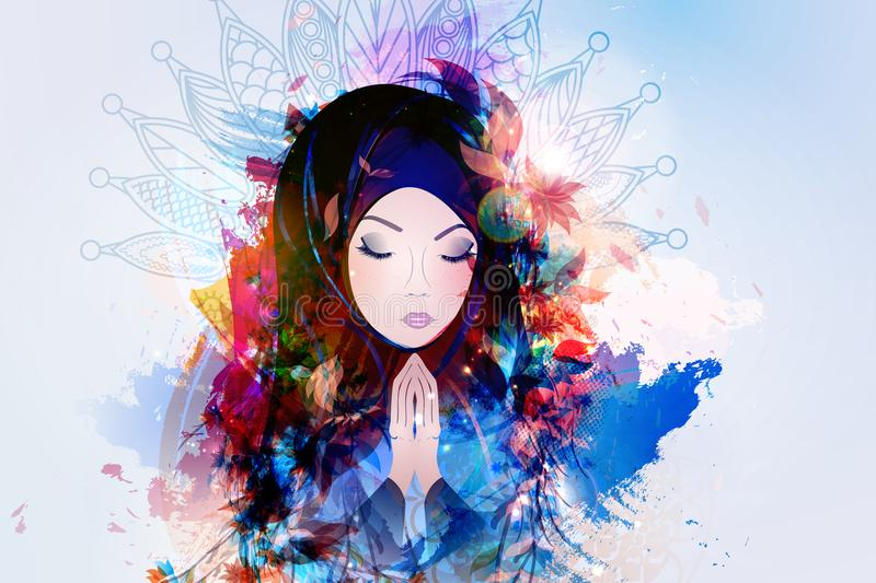 Vector prayer, religion, Christianity. A girl prays to God, the concept of Christianity. Vector illustration royalty free illustration