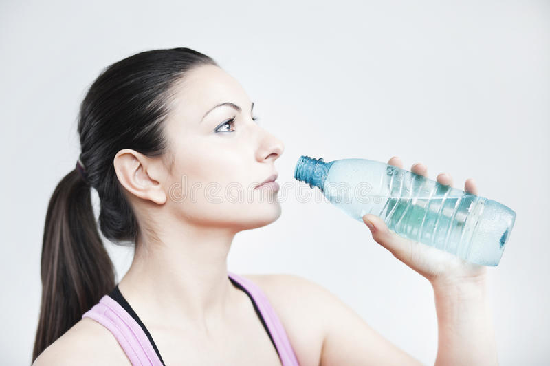 Girl prepare to drink water stock photo